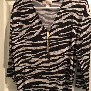 Blouse with zipper & zebra print